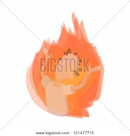 Man on fire icon, cartoon style