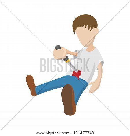 Man suiciding hisself icon, cartoon style