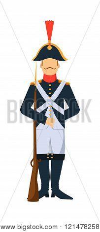 French troop old style armed forces man with weapon illustration