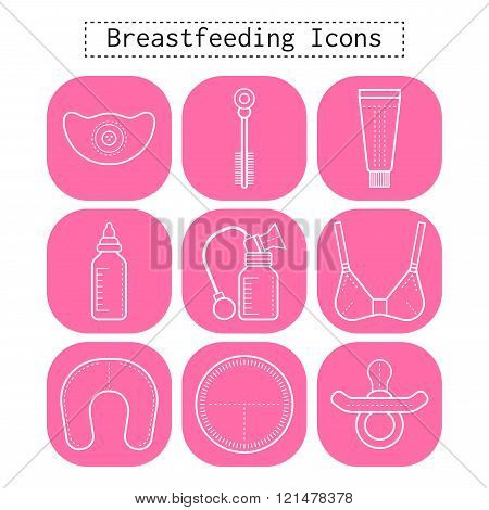 Breastfeeding, motherhood, flat white icons on a pink background