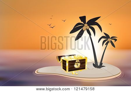 Desert Island With Treasure Chest And Sunset