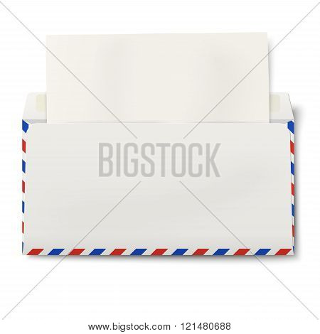 View Of Backside Of Opened Dl Air Mail Envelope With White Paper Inside