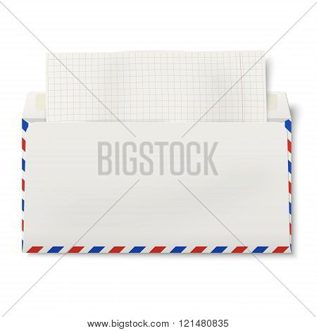 View Of Backside Of Opened Dl Air Mail Envelope With Squared Paper Inside