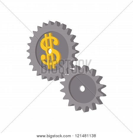 Clockwork with dollar sign icon, cartoon style