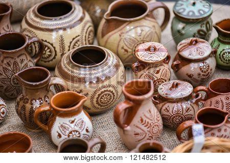 earthenware,crockery  in the handicraft mart Kaziukas, Vilnius, Lithuania