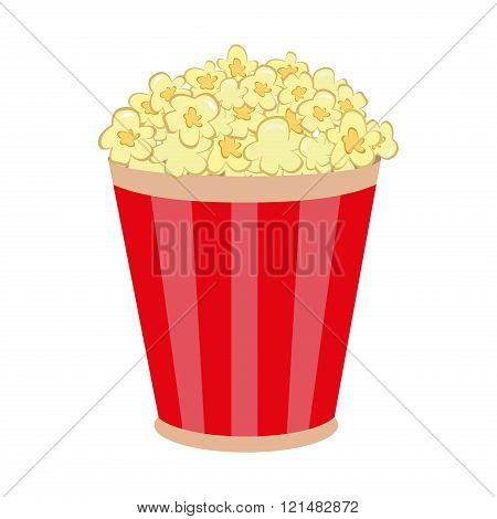 Popcorn in striped bucket flat cartoon vector illustration on white background. Sweet popcorn in striped bucket. Cinema food popcorn in striped bucket.