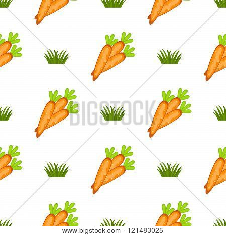 Easter Seamless Pattern With A Lot Of Carrots Vector.