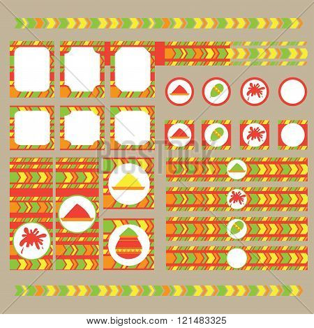 Printable Set Of Indian Holi Party, Festival Of Colours Elements.