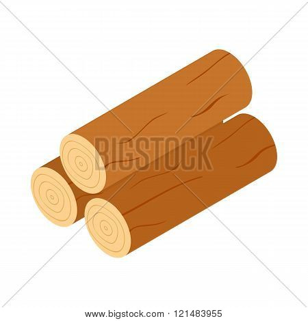 Wooden logs icon, isometric 3d style