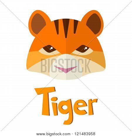 Flat Icon, Cute Tiger