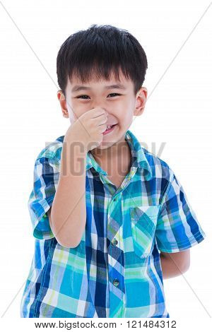 Playful asian boy covering his nose. Isolated on white background. Positive human emotion, facial expression feeling reaction. Studio shot.