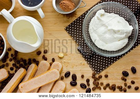 Cooking Tiramisu Concept Step By Step. Homemade Tiramisu Cake Whipped Cream