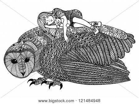 The Barn Owl And Girl