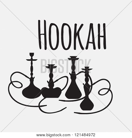 Hookah Labels And Smoke Logo. Set Of Oriental Nargile Silhouettes. Isolated  Traditional Shishe