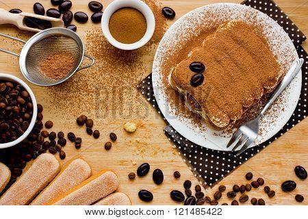 Italian Tiramisu Cake. Ingredients For Making Perfect Cheese Dessert.