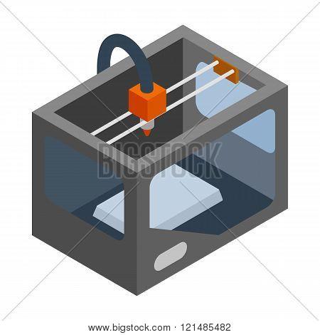3d printer icon, isometric 3d style