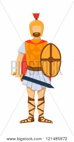 Roman gladiator soldier troop armed forces man vector illustration.