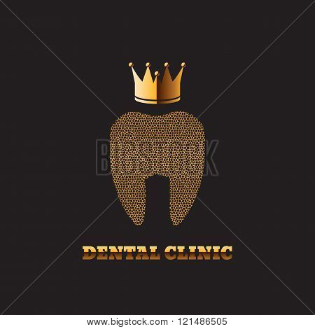Gold Tooth With A Crown Dark Background Stomatology Clinic Icon Logo Medical Healthcare Symbol Eps 1