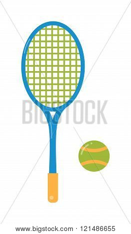 Tennis ball and racket flat illustration