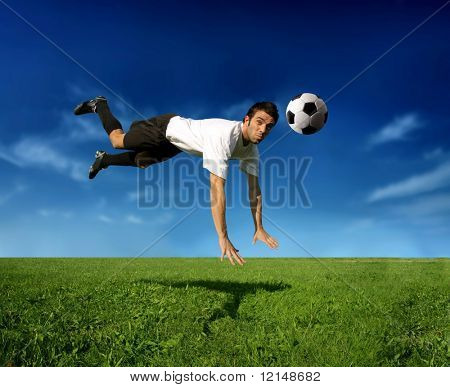 a soccer player in acrobatic