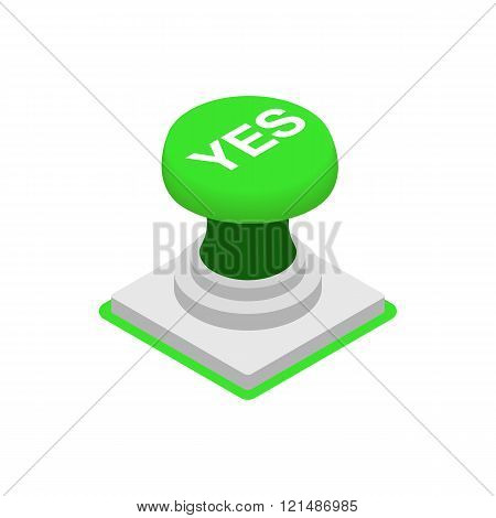 Push button YES icon, isometric 3d style