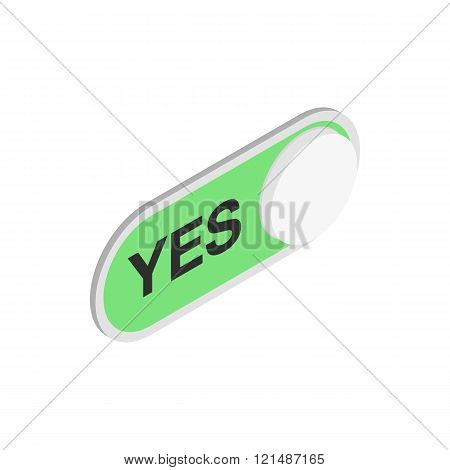 Green long round button YES icon
