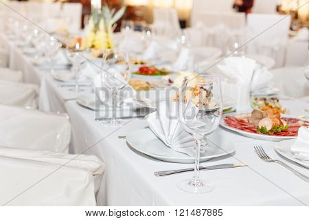 Cutlery On The White Banquet Table