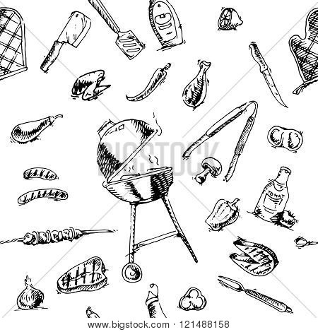 Seamless pattern of barbecue and grill elements
