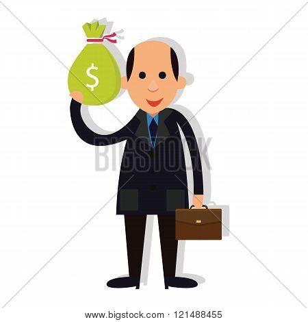 man businessman bald holding money corrupt corruption