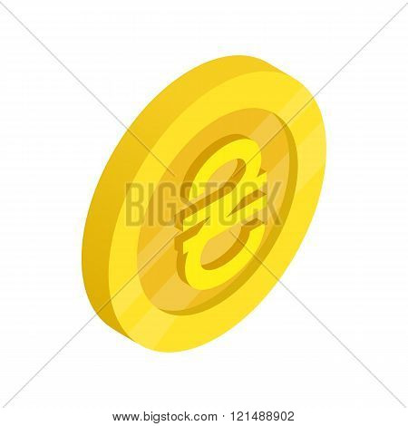 Gold coin with hryvnia sign icon