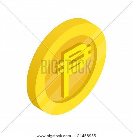 Gold coin with peso sign icon, isometric 3d style