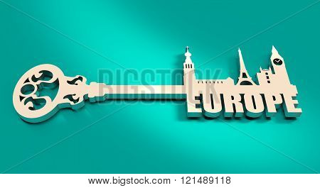 Diversity Monuments Of Europe, Famous Landmark As Part Of The Key.