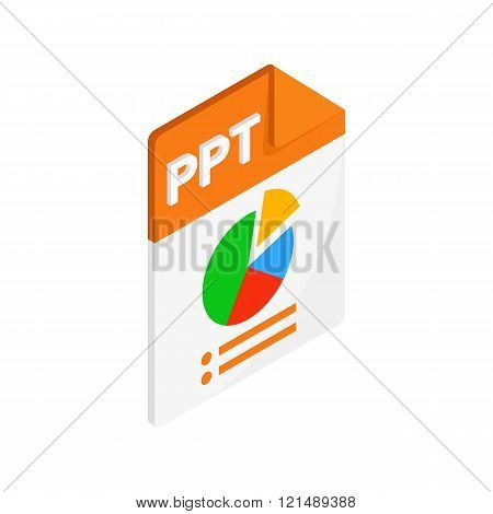 PPT extension text file icon, isometric 3d style