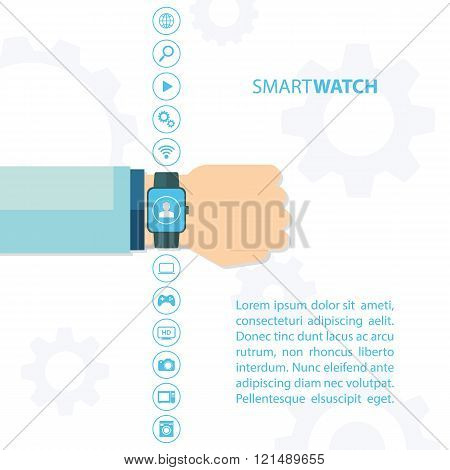 Smart watch and internet of things concept. Smart watch and smart home devices icons.