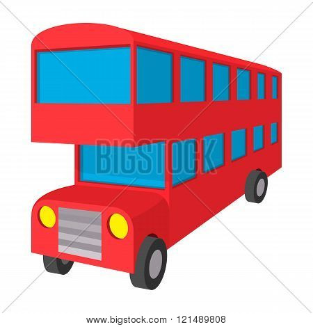 London double decker red bus icon, cartoon style