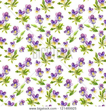 Seamless repeated background with watercolor violet viola pansy flowers