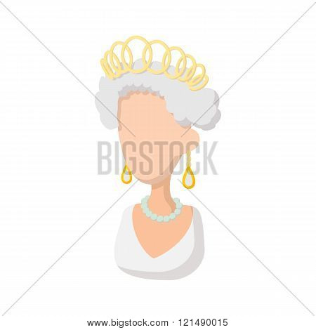 Elizabeth II British Queen icon, cartoon style