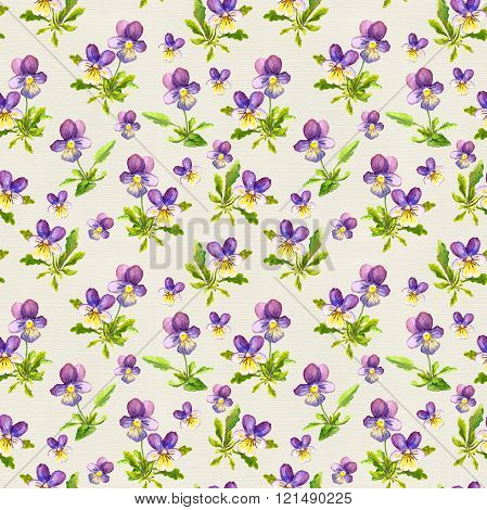 Seamless template with small violet viola flowers on paper texture