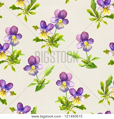 Seamless floral backdrop with violet viola flowers on linen texture