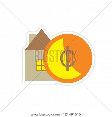 stylish sticker on paper House and money