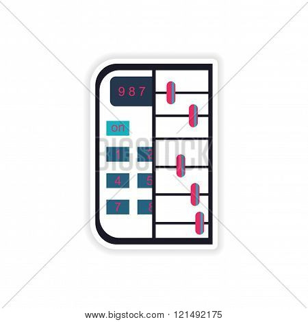 stylish sticker on paper calculator and abacus