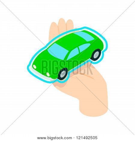 Hand holding the car icon, isometric 3d style