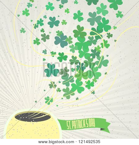 Leprechaun pot of shamrock and ribbon with congratulations on st patrick's day on a textured backgro