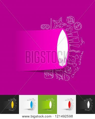 surfing paper sticker with hand drawn elements