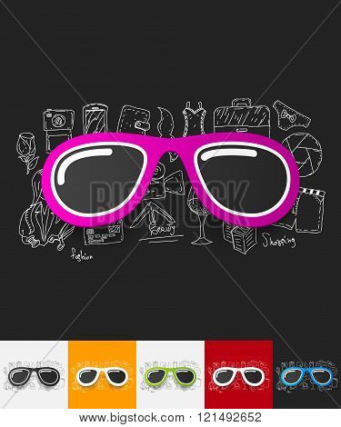 sunglasses paper sticker with hand drawn elements