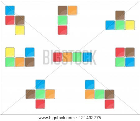 Tetris Element Set Color Design