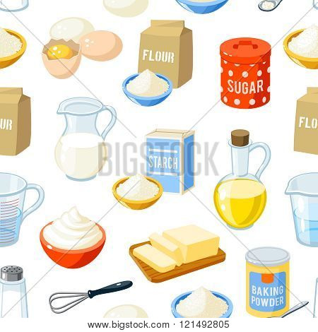 Seamless Pattern With Cartoon Baking Ingredients - Flour, Eggs, Oil, Water, Butter, Starch, Salt, Wh