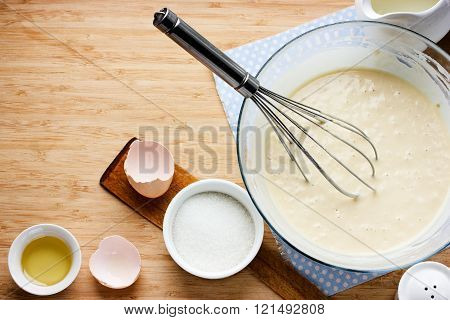 Ingredients For Making Pancakes And Raw Dough