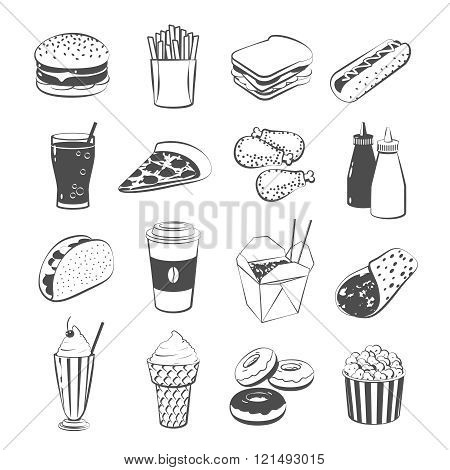 Set Of Cartoon Fast Food: Hamburger, French Fries, Sandwich, Hot Dog, Pizza, Chicken, Ketchup And Mu