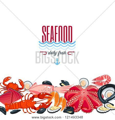 Background With Cartoon Food: Seafood - Tuna, Salmon, Clams, Crab, Lobster. Vector Illustration, Eps
